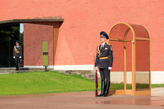 Honor Guard Standing near Eternal Fire in Moscow Russia Royalty Free Stock Photos