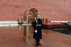 The honor guard at the Tomb of the Unknown Soldier in the Alexander garden. Post number 1. MOSCOW, RUSSIA - FEBRUARY 23, 2014:The honor guard at the Tomb of the Royalty Free Stock Image