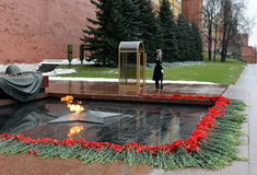 The honor guard at the Tomb of the Unknown Soldier in the Alexander garden. Post number 1. MOSCOW, RUSSIA - FEBRUARY 23, 2014:The honor guard at the Tomb of the royalty free stock photo