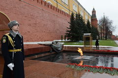 The honor guard at the Tomb of the Unknown Soldier in the Alexander garden. Post number 1. MOSCOW, RUSSIA - FEBRUARY 23, 2014:The honor guard at the Tomb of the Stock Image