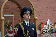 The honor guard at the tomb of the unknown soldier in the Alexander garden. Post number 1. MOSCOW, RUSSIA -JUNE 22, 2014: The honor guard at the tomb of the Stock Photo