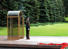 The honor guard at the tomb of the unknown soldier in the Alexander garden. Post number 1. MOSCOW, RUSSIA -JUNE 22, 2014: The honor guard at the tomb of the Stock Image