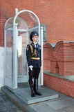 The honor guard at the Troitskaya tower of the Moscow Kremlin Royalty Free Stock Photography
