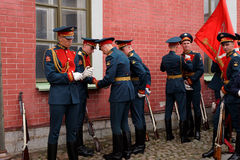 Honor guardians prepare to the ceremony in St. Peter and Paul fortress, St. Petersburg, Russia Royalty Free Stock Images