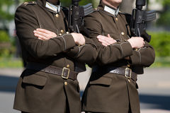 Honor guards. Two latvian honor guards with rifles marching Royalty Free Stock Photos