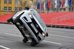 Samara, Russia - May 1, 2018: Demonstration performance of the stuntmen of the VAZ automobile plant on the International Workers` stock photo