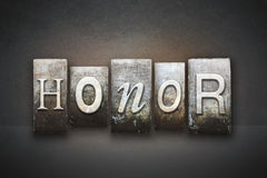 Honor Letterpress. The word HONOR written in vintage letterpress type royalty free stock images