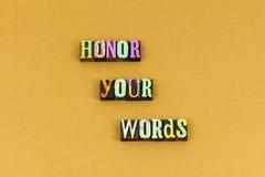 Honor odwagi rzetelności jaźni szacuneku typografia zdjęcia royalty free