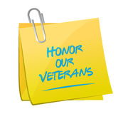 Honor our veterans memo illustration design Stock Image