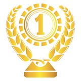 Honor prize. Gold honor prize and wheat leaf Royalty Free Stock Photos