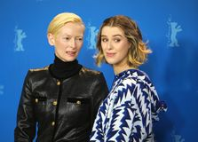 Honor Swinton-Byrne,  Tilda Swinton pose at the `The Souvenir stock image