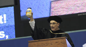 An Honorary Doctoral Degree Recipient Speaking at NAU Royalty Free Stock Photos
