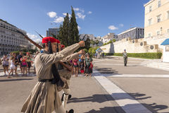 Honorary guard change infront of the Greek parliament Royalty Free Stock Images