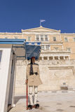 Honorary guard (tsolias) infront of the Greek parliament Royalty Free Stock Images