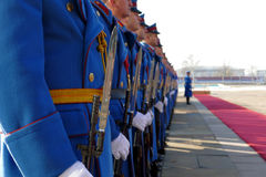 Honorary Guards Units Army of Republic of Serbia at the plateau standing still Stock Images