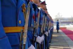 Honorary Guards Units Army of Republic of Serbia at the plateau standing still Royalty Free Stock Image