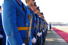 Honorary Guards Units Army of Republic of Serbia at the plateau standing still Stock Photography