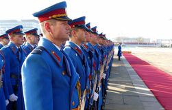 Honorary Guards Units Army of Republic of Serbia at the plateau standing still Stock Photos