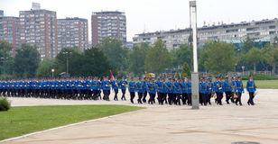 Honorary Guards units Army of Serbia marching at the plateau. Belgrade, Serbia. September 5th, 2016: Honorary Guards units Army of Serbia marching at the plateau Stock Image