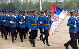Honorary Guards units Army of Serbia marching at the plateau Royalty Free Stock Photo