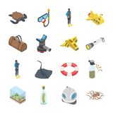 Underwater Accessories Vehicle Icons stock illustration