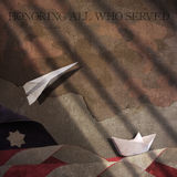 Honoring All Who Served. Flag Paper Boat and Airplane Royalty Free Stock Photo