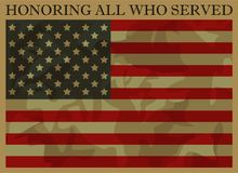 Honoring All Who Served. Veterans Day. Mimetic Usa Flag Royalty Free Stock Photo