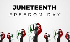 Free Honoring Juneteenth Freedom Day Banner With Fists In A Row. Abstract Freedom Celebration Backdrop Royalty Free Stock Photo - 221022265