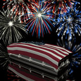 Honoring the Ultimate Sacrifice. Coffin draped with the American Flag with Fireworks in the background royalty free illustration