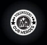 Honoring Volunteers. A reward logo type honoring volunteers as everyday heroes Stock Photo