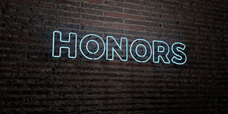 HONORS -Realistic Neon Sign on Brick Wall background - 3D rendered royalty free stock image Stock Photo