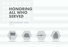 Honors Veterans day,abstact flag flat theme design Stock Photography