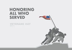 Honors Veterans day,the monument and flag flat theme design Royalty Free Stock Photos