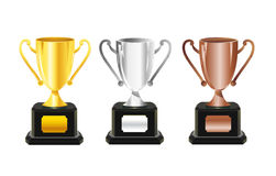 Honour cups with signs for names Royalty Free Stock Photos