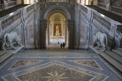 The honour Grand Staircase, Caserta. Caserta, Italy, : Caserta Royal Palace, the honour Grand Staircase, projected by Italian Architect Luigi Vanvitelli in late Stock Photos