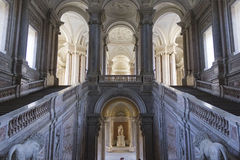 The honour Grand Staircase, Caserta. Caserta, Italy, : Caserta Royal Palace, the honour Grand Staircase, projected by Italian Architect Luigi Vanvitelli in late Royalty Free Stock Photos