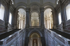 The honour Grand Staircase, Caserta. Caserta, Italy, : Caserta Royal Palace, the honour Grand Staircase, projected by Italian Architect Luigi Vanvitelli in late Royalty Free Stock Photography