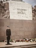 Honour guard in front of freedom monument in Riga Latvia Stock Photography