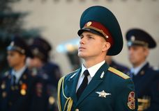 The honour guard of interior Ministry troops of Russia. Royalty Free Stock Images