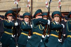 The honour guard of interior Ministry troops of Russia. Royalty Free Stock Photography