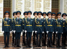 The honour guard of interior Ministry troops of Russia. Special military formations are designed to ensure the internal security o. MOSCOW, RUSSIA - JULY 23,2014 Royalty Free Stock Photo