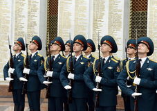 The honour guard of interior Ministry troops of Russia. Special military formations are designed to ensure the internal security o. MOSCOW, RUSSIA - JULY 23,2014 Royalty Free Stock Photography