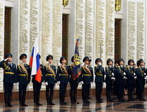 The honour guard of interior Ministry troops of Russia. Special military formations are designed to ensure the internal security o. MOSCOW, RUSSIA - JULY 23,2014 Royalty Free Stock Photos