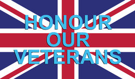 """Honour our Veterans. The Union Flag of United Kingdom of Great Britain and Northern Ireland with the text """"Honour our Veterans Royalty Free Stock Photo"""