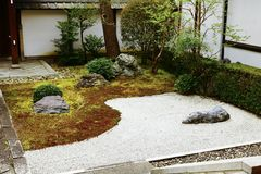 The famous Japanese rock garden in Honpo-ji. Honpo-ji, Kyoto, Japan. The Japanese rock garden of Honpo-ji is not open to the public frequently, so I think I was stock image