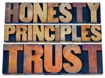 Honradez, principios y confianza Fotografía de archivo libre de regalías