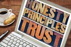 Honradez, principios y confianza Fotografía de archivo