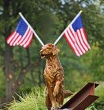 honras busca da estátua 9/ll e cães do salvamento Fotografia de Stock Royalty Free