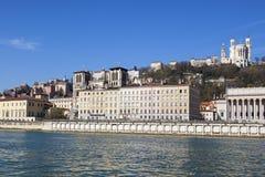 Honrizontal view of Lyon with Saone river Stock Photography