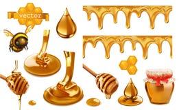 Honung, bi, honungskaka, droppe och sömlös modell Ställ in vektorbeståndsdelar